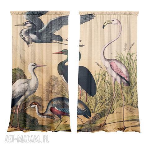 komplet zasłon bawełnianych sowe, zasłony, fototapeta, dekoracja, vintage, ptaki