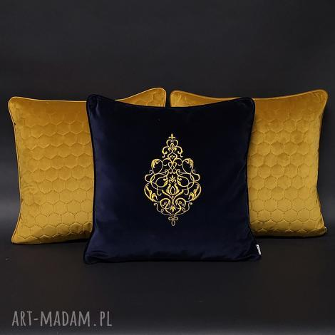 poduszki welur, aksamit, haft komplet złoto 45x45, poduszka