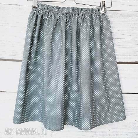 grafitowa spódnica w drobne kropeczki, kropki, klasyka, bawełnina, na lato
