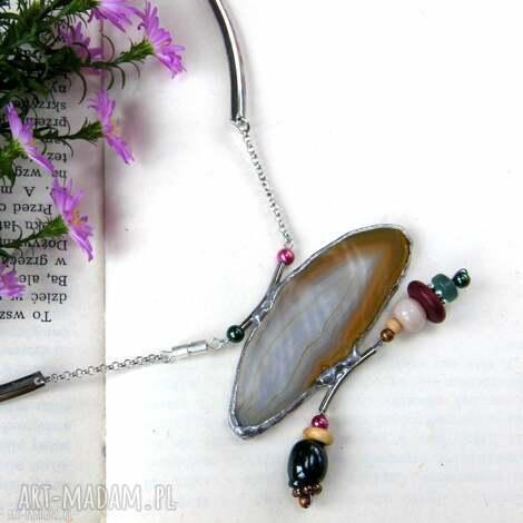 agatowy naszyjnik w beżowej tonacji - naszyjnik, agat, kamienie, obroża