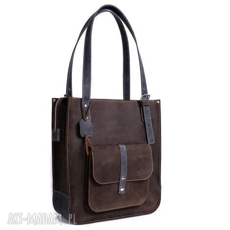 na ramię ręcznie robiona skórzana torebka granatowa, skórzane torby, torebki