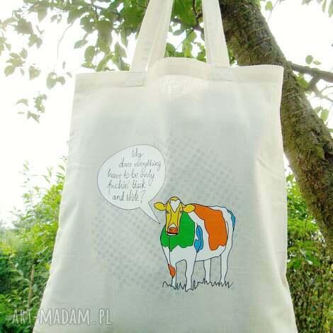 7137f715f5d9e eko torba na ramię - zakupy a4 śmieszny nadruk krowa kolor naturalny ecru