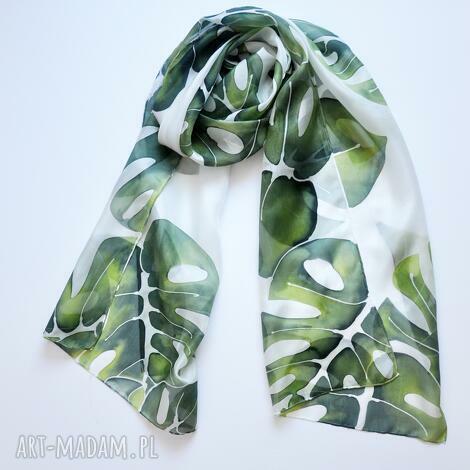 jedwabny malowany szal w zielone liście, jedwab, ręcznie malowany, szalik