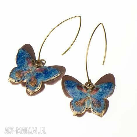 kolczyki miedziane z niebieskimi motylami c241 - kolczyki z motylami, niebieskie motyle