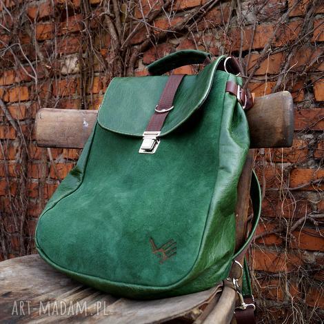 plecaki lilith plecak/torba zielona skóra, pullup, zieleń, naturalna
