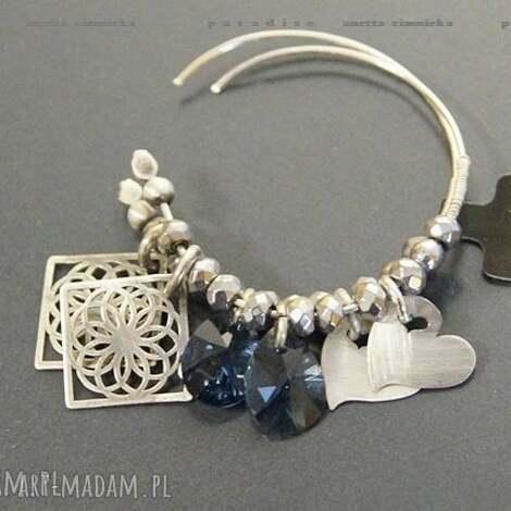 srebro, kolczyki swarovski blue w srebrze, koła, zawieszki
