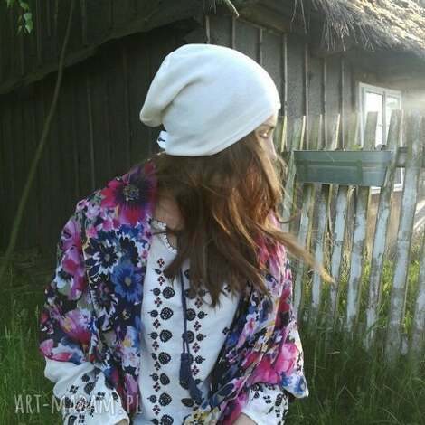 cienka czapka bez podszewki ecru dzianina swetrowa unisex, rower, czapka, unisex
