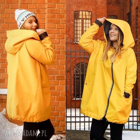 żółty płaszcz oversize ogromny kaptur na jesień rozmiar xl - jesienny