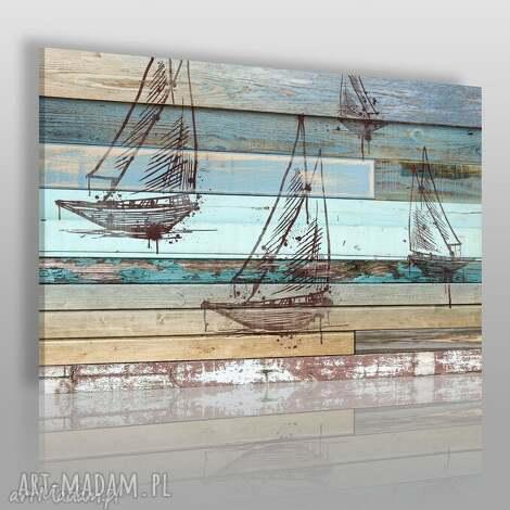 obraz na płótnie - ŻaglÓwka deski shabby chic - 120x80 cm 72501