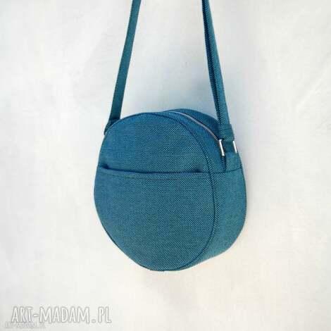 na ramię dotti - okrągła torebka ciemny turkus, okrągła, listonoszka