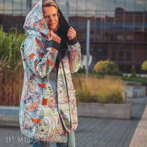 twarze oversizowy płaszcz z tkaniny wodoodpornej xl (płaszcz oversize, )