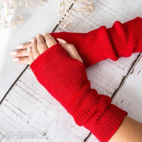 mitenki jasnoczerwone rękawiczki, wełna, wełniane