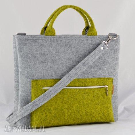 torba na laptopa z filcu w kolorze szarym i limonki, laptopówka minimalistyczna