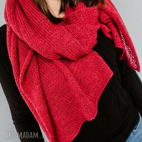 ciepły czerwony szal z wełny, zimowy ciepły szal, z wełny