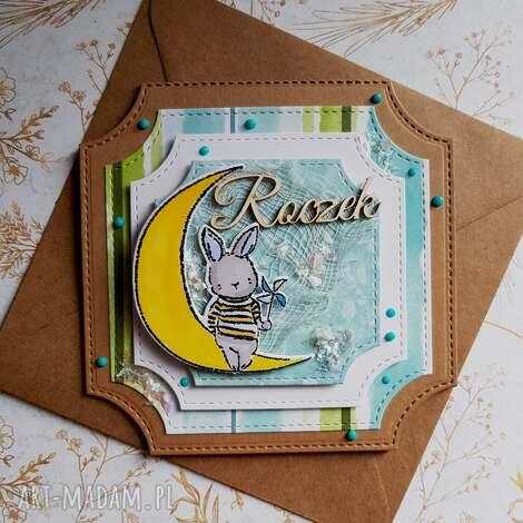kartka roczek z króliczkiem, urodziny, chłopiec dziecko, życzenia