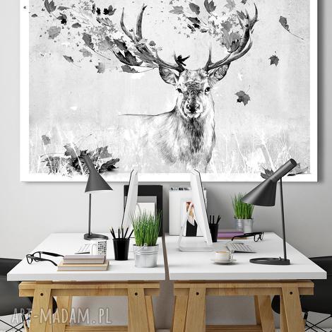 obraz na płótnie - 120x80cm jeleń jesienią 02273 wysyłka w 24h, jeleń, obraz, szkic