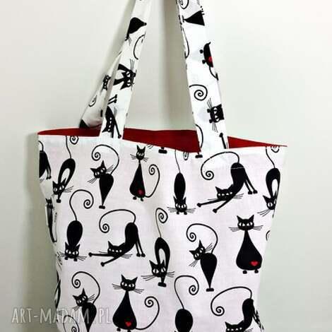 na zakupy torba ekologiczna shopperka koty serca, torba, torba-na-zakupy