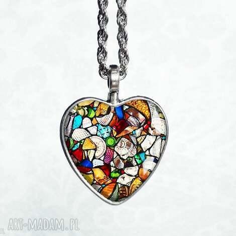 witrażowe serce naszyjnik serce - serduszko, serca, romantyczny, stylowy, ukochanej
