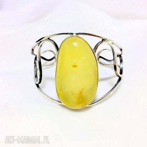 srebrna bransoletka z mlecznym bursztynem bałtyckim, bransoletka, srebro925