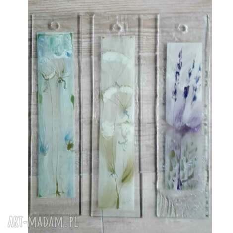 szkło zestaw 3szt szklanych obrazków malowanych ręcznie, szklane obrazki