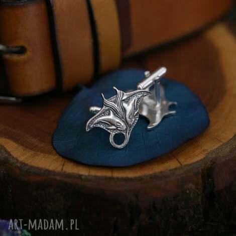 płaszczka z orkami - srebrne spinki do mankietów (biżuteria z)