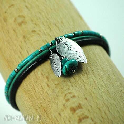 turkusowa, turkus, srebro, liść, natura, prezent, bransoletka