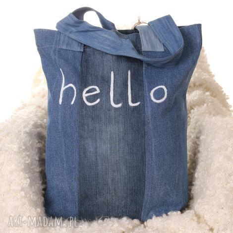 dżisnowa torba z napisem hello, torba, napis, denim, jeans, dżinsowa
