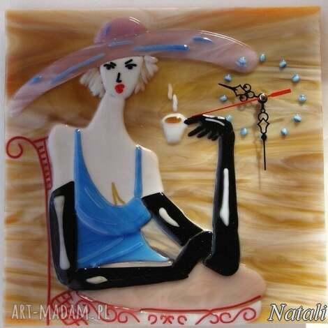 natali artystyczna kompozycja ze szkła - zegar dama w kapeluszu, szklo, zegary