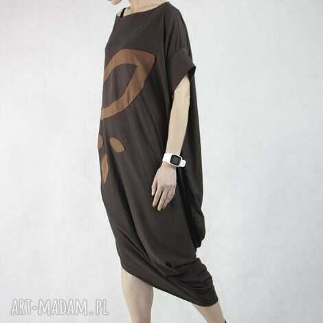 z liściem, sukienka, bawełniana, oversize, długa, wymyślna, oryginalna sukienki