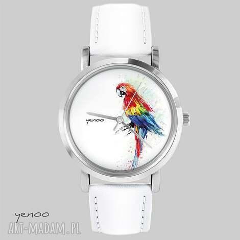 zegarki zegarek, bransoletka - czerwona papuga biały, skórzany, zegarek