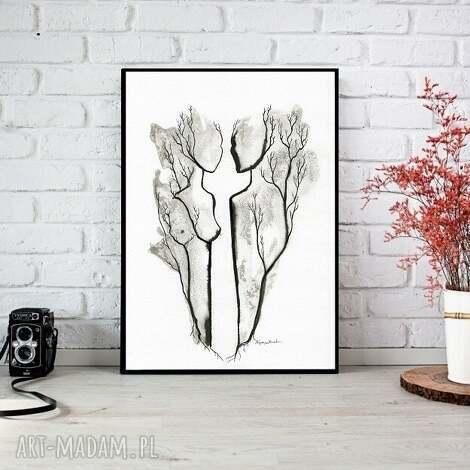 ręcznie malowany, abstrakcja, minimalizm, abstrakcja czarno-biała, ilustracja