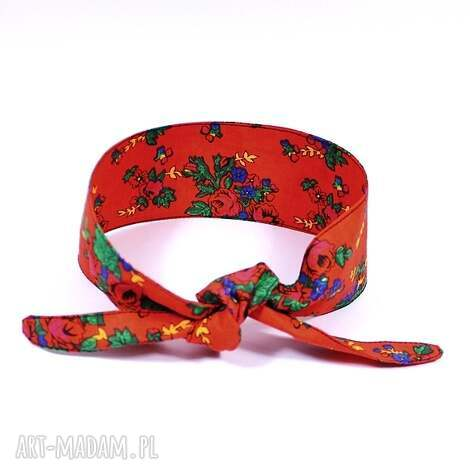 opaska pin up folkowa czerwona, pinup, folkowa, z bawełny