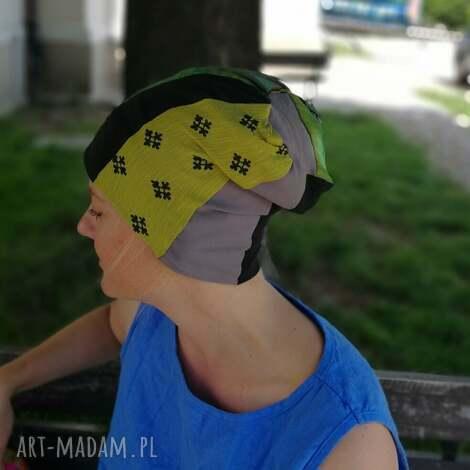 czapka damska na podszewce szyta patchworkowo - czapka, etno, boho, folk, kolorowa