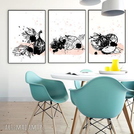 owocowy tryptyk na ścianę, grafika, owoce, tryptyk, kuchnia, a4, ilustracja