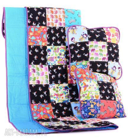 kolorowa narzuta 80x140cm i 2x poduszka kolorowy komplet od majunto - patchwork, narzuta