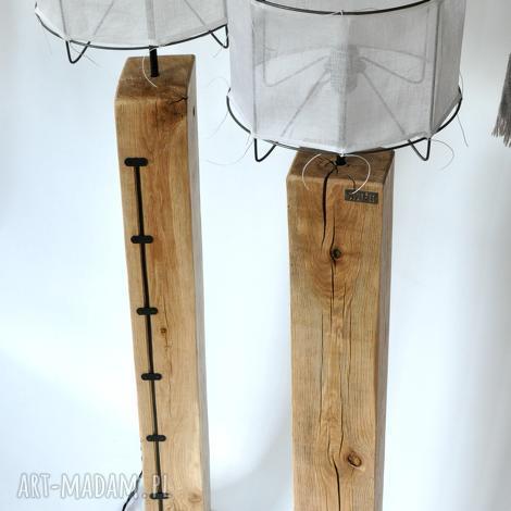 lampa loft drewniana, dębowa - wysoka, debowa, loftowa, len, salon, drewniana