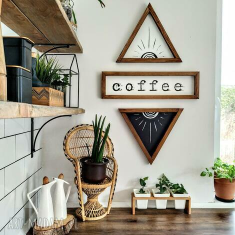 zestaw napis coffee 2x sun, drewniane dekoracje, dekoracje ścienne
