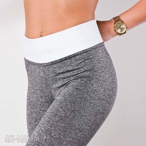 legginsy szare damskie modne spodnie rurki wysoki stan, legginsy, fajne