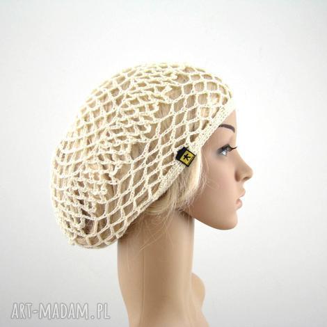 kremowa ażurowa czapeczka - siatka na lato czapka, beret ażur, plaża