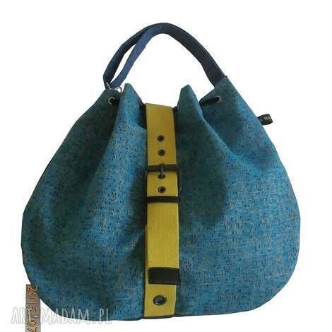 na ramię turkusowa torba z paskiem, pasek, płaska, prosta, worek torebki