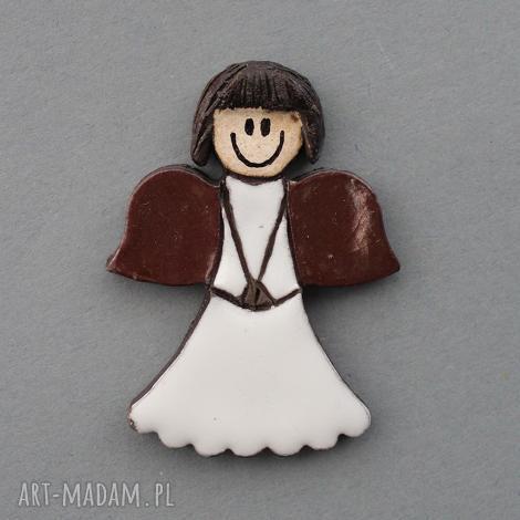 anioŁek-broszka ceramiczna - prezent, święta, dodatek, upominek, imieniny