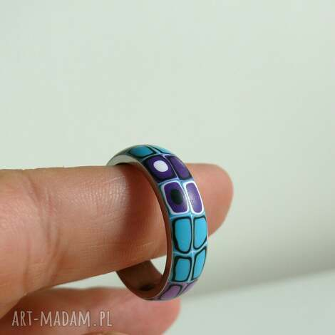 obrączka stalowa z polymer clay - obrączka, stalowa, fioletowy, duży