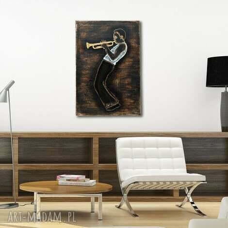 trumpet master 3d - duży, drewniany, przestrzenny, trąbka, jazz, jazzman