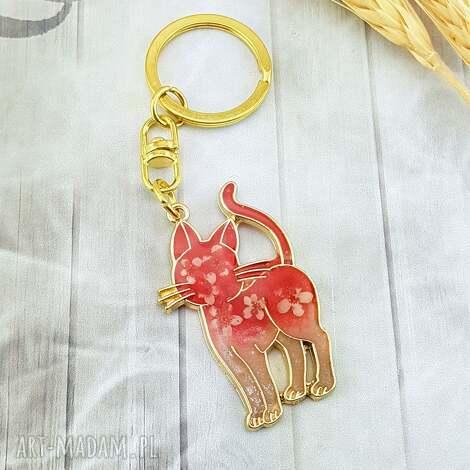 breloki 1213/ brelok do kluczy z żywicą kot, brelok, kluczy, kwiaty, epoksyd