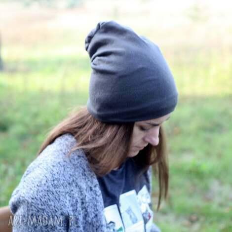 czapka unisex dzianina swetrowa szara, czapka, dzianina, unisex, damska, męska, zima