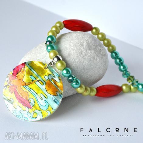 rajski ptak - naszyjnik, kolorowy, perły, howlit, długi, koło