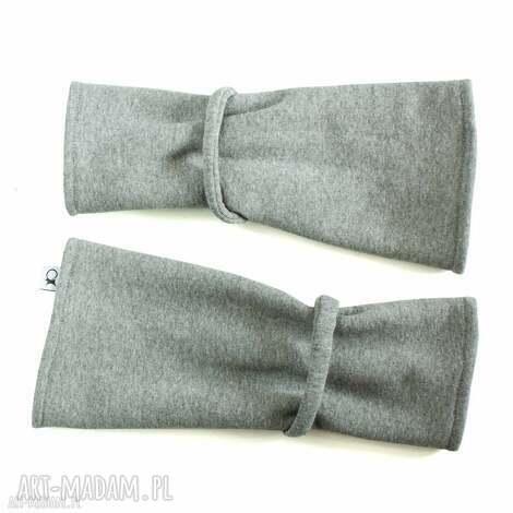 mitenki - szare - ciepłe, opatulacz rękawiczki, dresowe