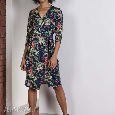 sukienki kopertowa sukienka w kwiatki, suk152 kwiaty, sukienka, kopertowa, kwiaty