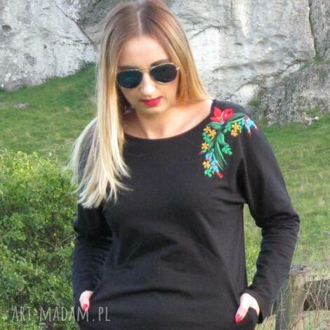 czarna sukienka z haftem rozmiar 42, lalu, dzianina, bawełna, haft, kieszenie