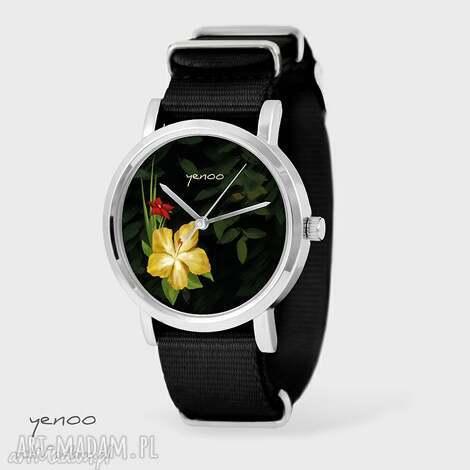 zegarki zegarek, bransoletka - jungle flowers czarny, nato